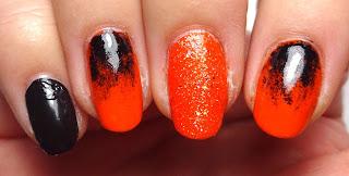 Orange Glitter Nail