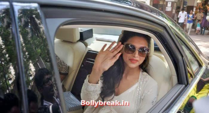 Deepika Padukone sitting in her car, Deepika Padukone at Shree Siddhivinayak Temple for 'Goliyon Ki Raasleela Ram-leela'