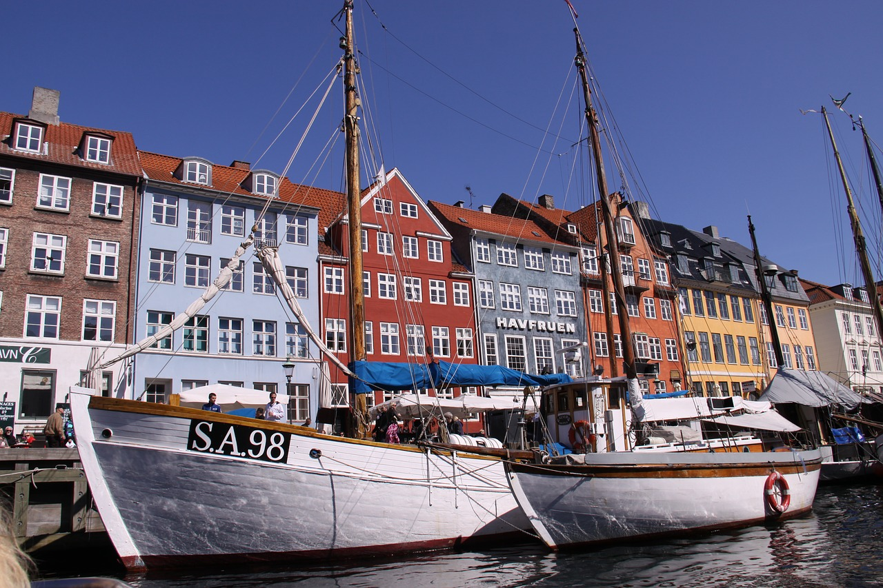 Boats in Nyhavn, Copenhagen, Denmark.