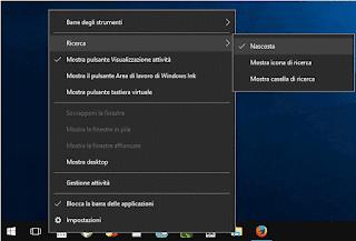 Windows 10 - Nascondere casella di ricerca