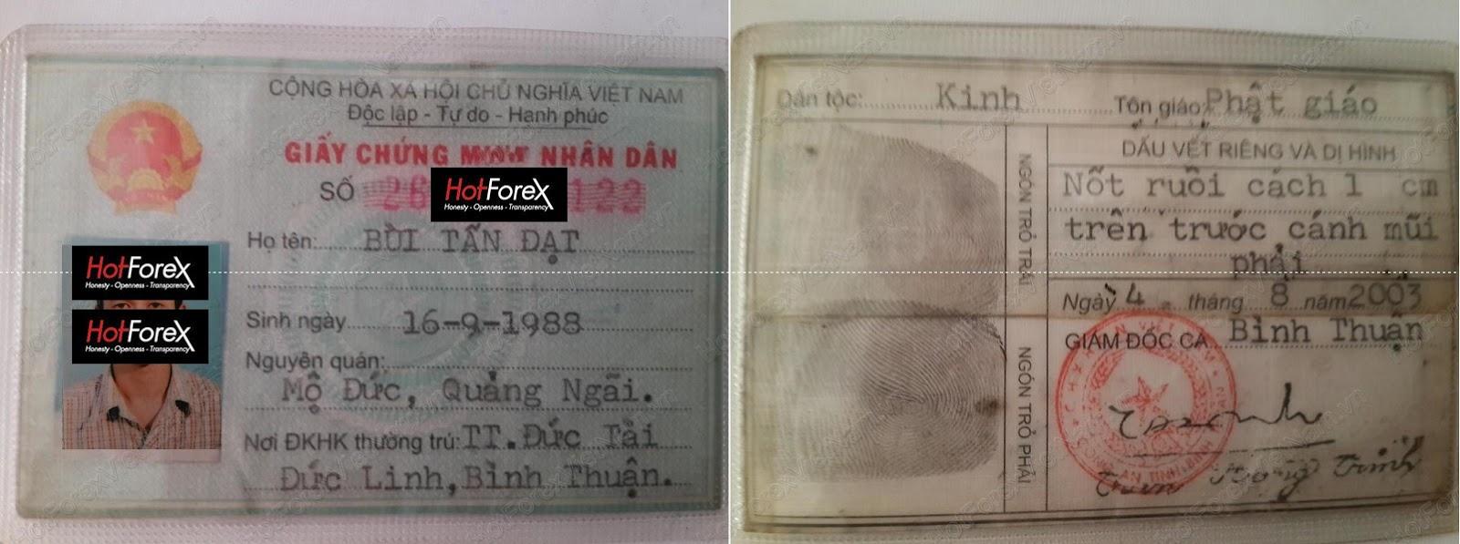 Mở tài khoản HotForex bằng Chứng Minh Thư
