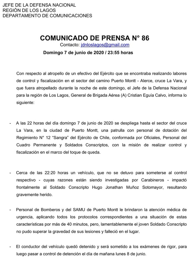 Muerte de soldado en Puerto Montt: Ejercito entrega comunicado oficial