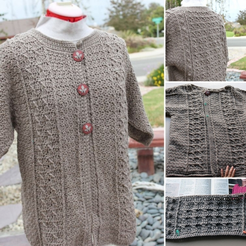 Sweet Cabled Crochet Cardigan - Free Pattern