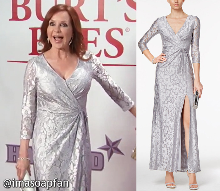 Bobbie Spencer, Jackie Zeman, Silver Lace Gown, Adrianna Papell, Nurses Ball, Fashion, GH, General Hospital, Season 55, Episode 05/23/17
