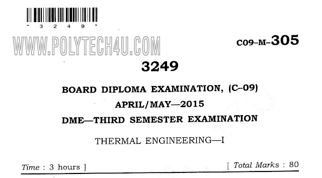 dme thermal engineering-1 c-09 3rd Sem April/May-2015