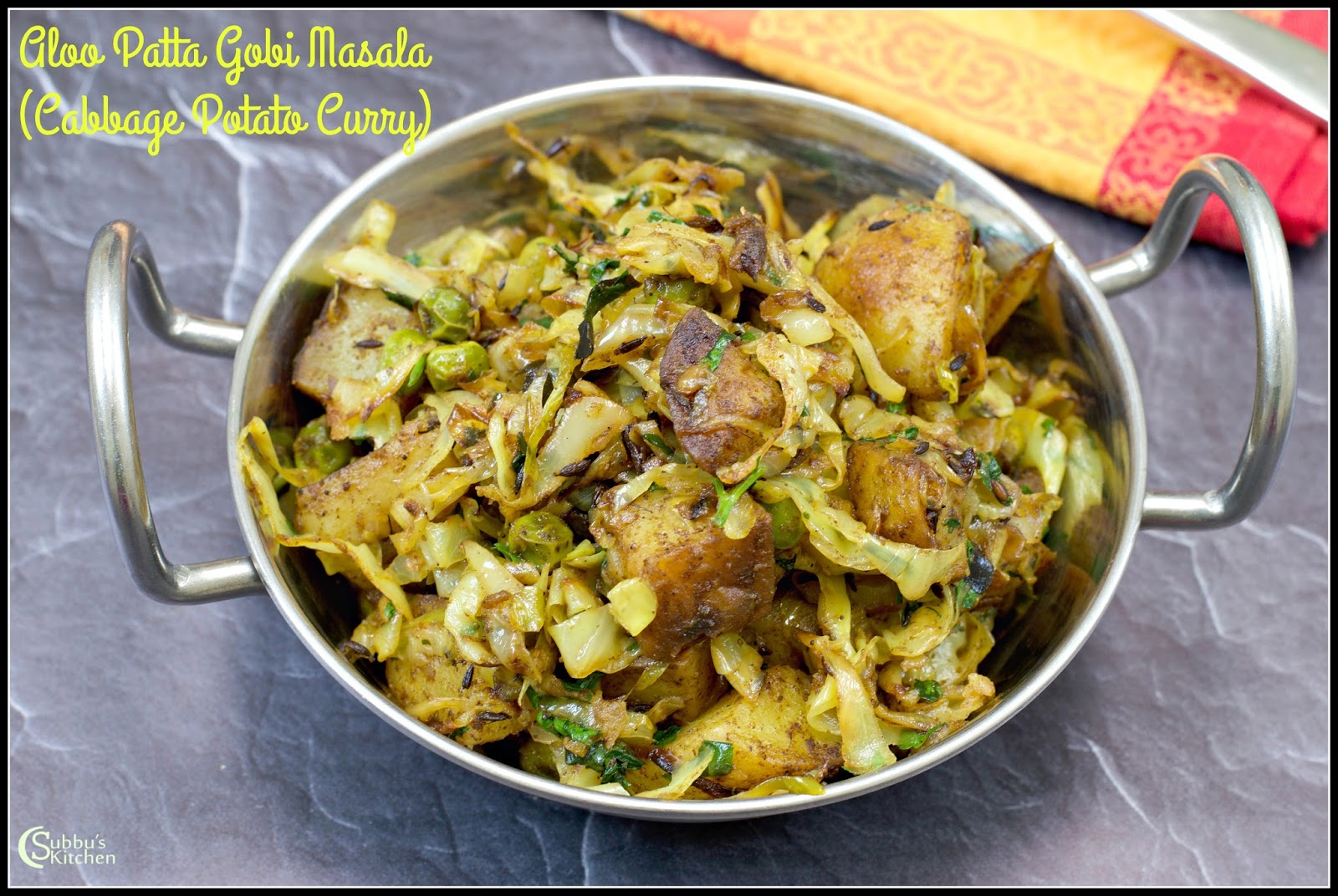 Aloo Patta Gobhi Curry - Potato Cabbage Stir Fry