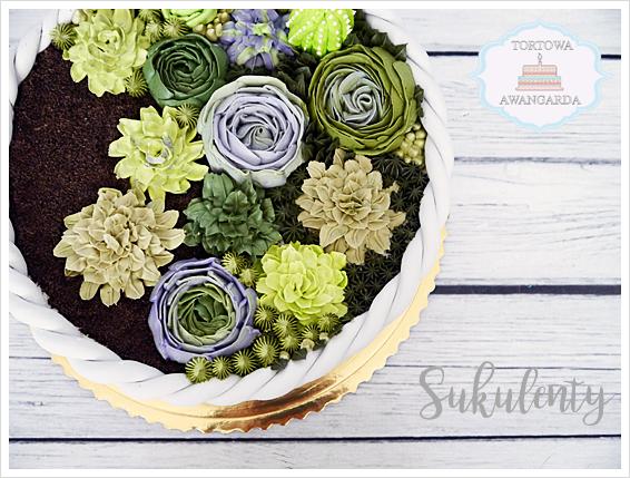 własnoręcznie przygotowany tort z sukulentami koszyk  kolorowy Warszawa