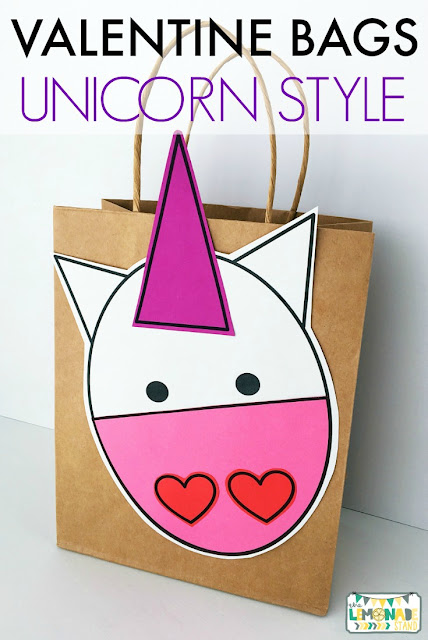 Valentine's Day bags for your classroom Valentine's Day party!  The cactus or the unicorn will be loved by your students!