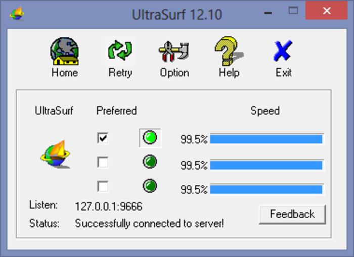 UltraSurf screenshot