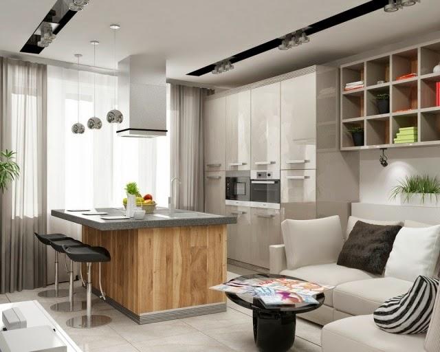 Sala de estar con cocina abierta colores en casa for Cocina de planta abierta sala de estar