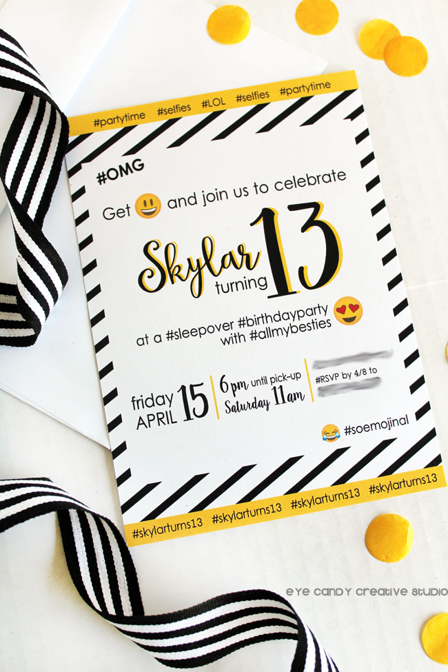 emoji sleepover invite, black & white stripe, teen birthday invite, emoji party