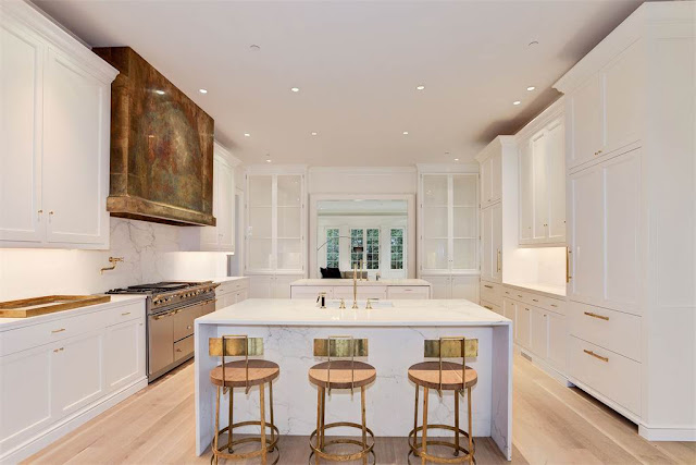 Kitchen Washington DC luxury mansion Kalorama marble islands regency style limestone