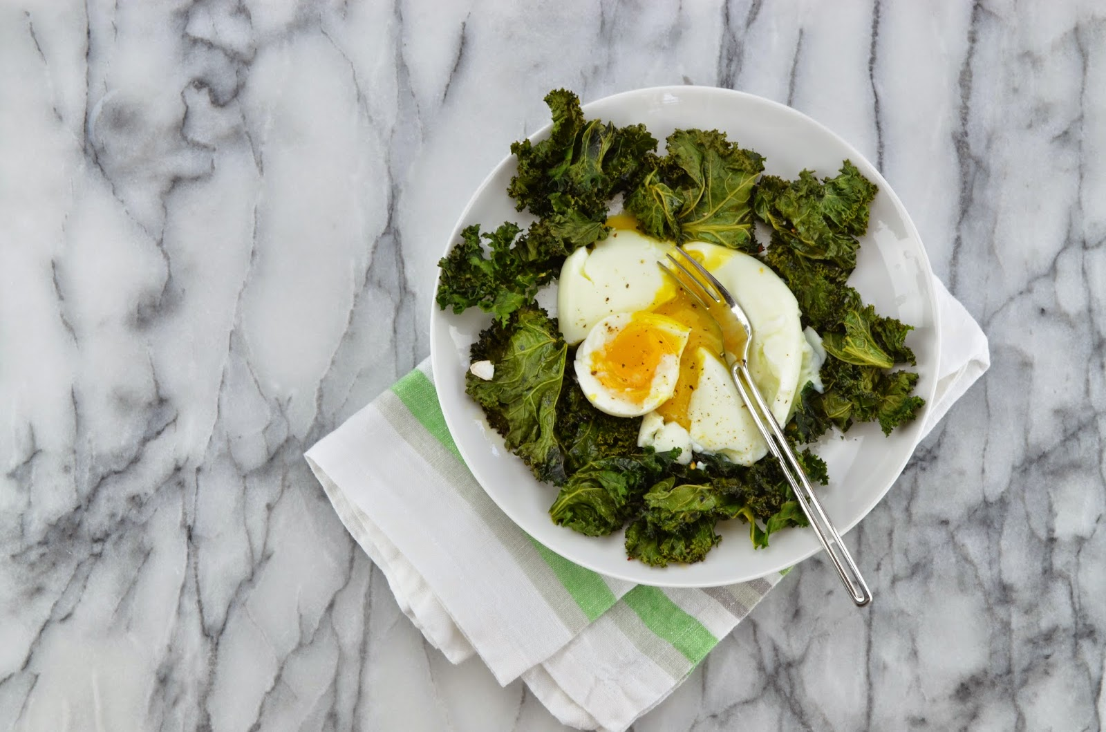 Roasted Kale and Soft Boiled Eggs - Smell of Rosemary.