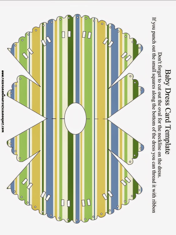 Tarjeta con forma de Camison de Bebé de Verde, Azul y Naranja.