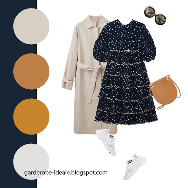 Темно-синее платье с рюшами с белыми кроссовками и тренчем