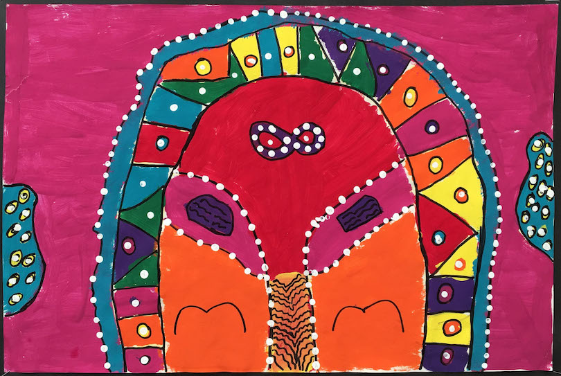 Spring Gallery Art:  Colourful Metis Art by a 3rd Grade Class