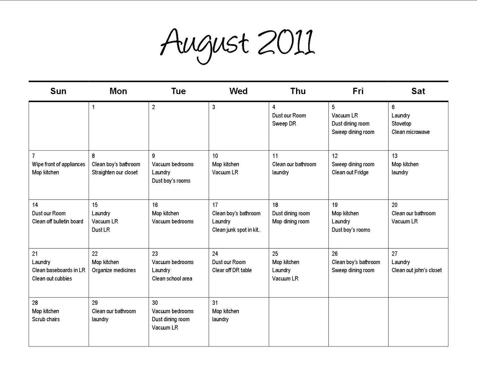 Lil Mop Top New Chore Calendar