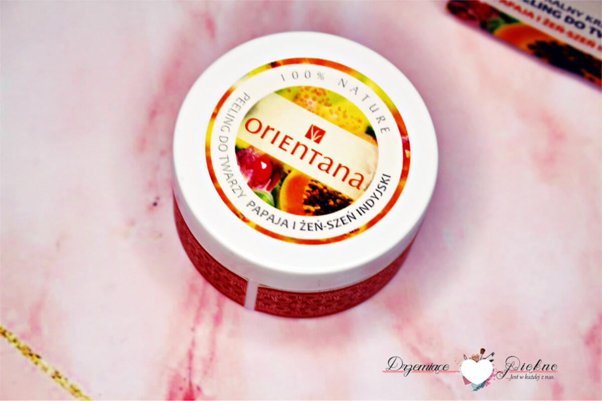 Orientana, naturalny kremowy peeling do twarzy papaja i żeń-szeń indyjski