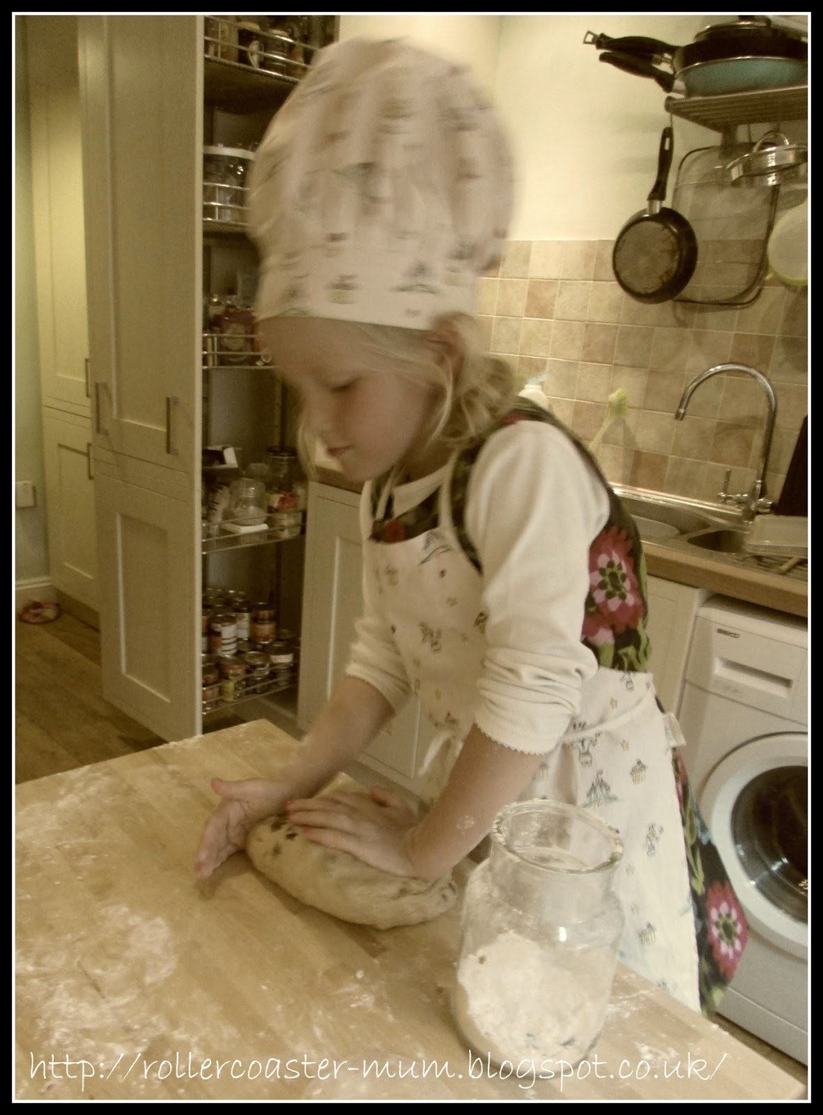 kneading the dough for iced buns