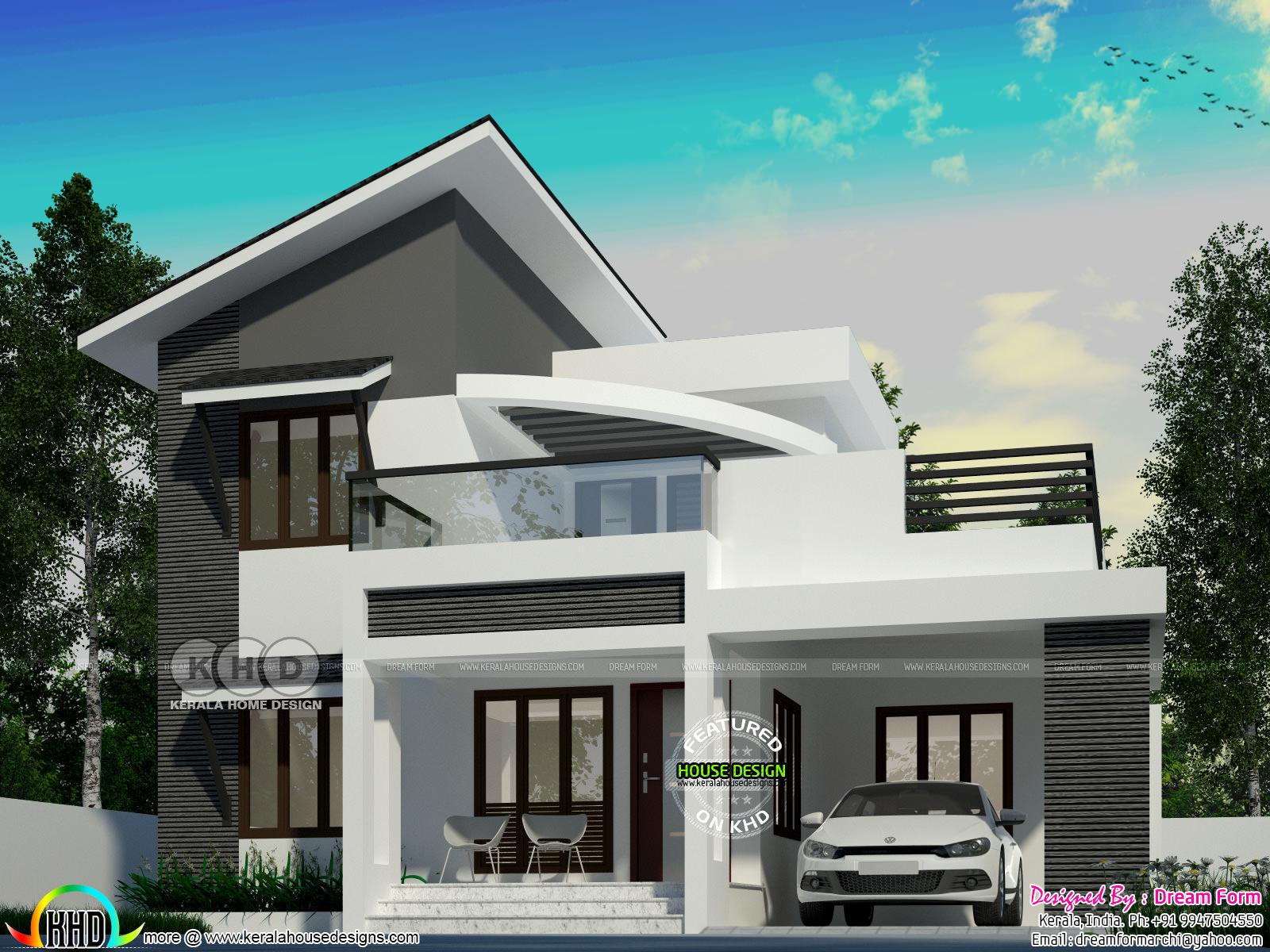 Slanting roof mix modern 4 BHK house design - Kerala home ...
