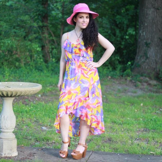 Tropical Print High-Low Hem Dress