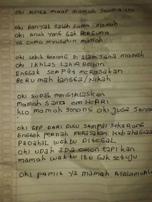 surat wasiat Oki yang ditemukan kepolisian