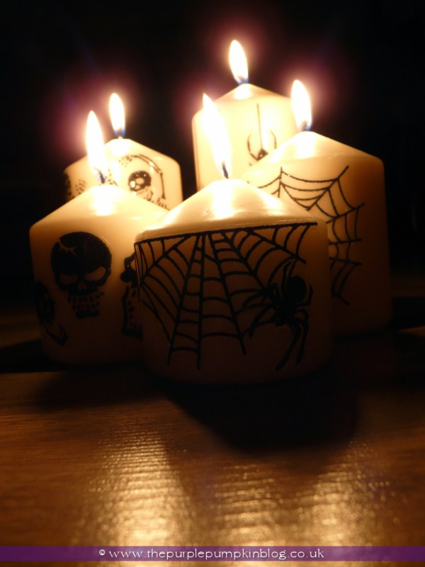 Halloween Candles decorated with stickers {Crafty October} at The Purple Pumpkin Blog