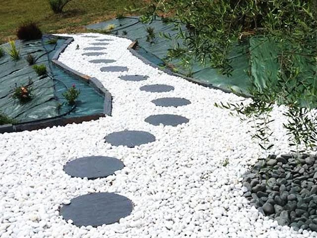 gambar Trik menyusun batu dan menanam bibit rumput manila atau gajah