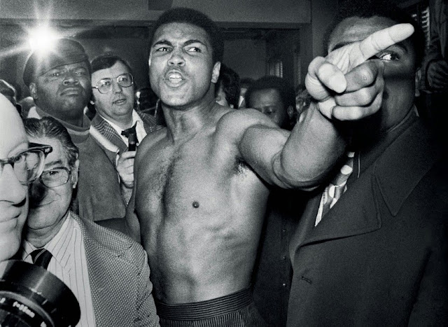 Muhammad Ali during the weigh-in process before his second boxing match with Joe Frazier, Jan. 23, 1974