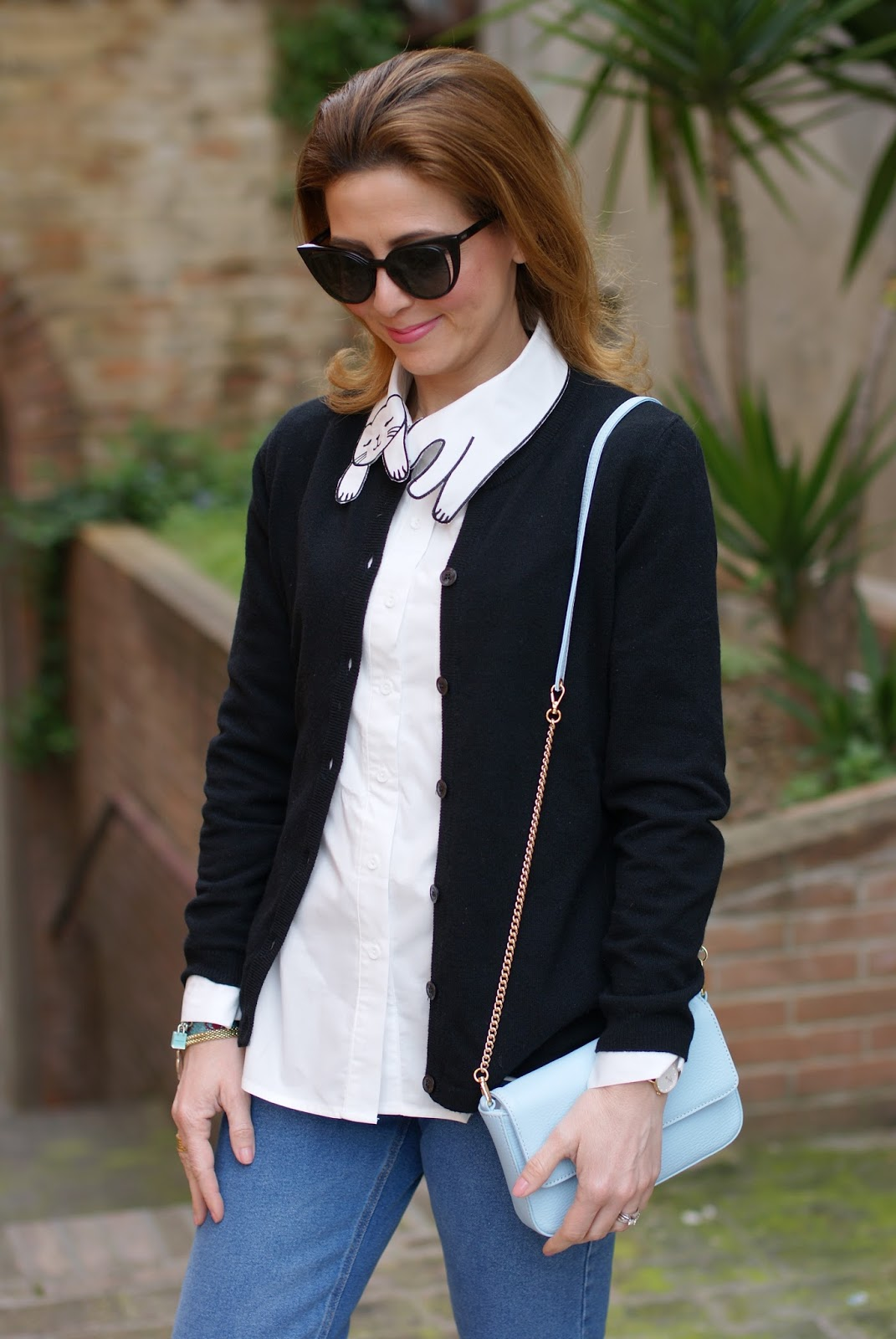 White cat collar shirt, Fendi sunglasses on Fashion and Cookies fashion blog, fashion blogger style