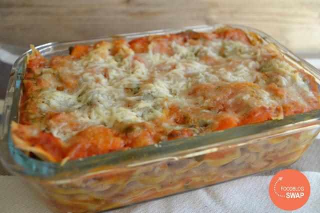 Lasagne met pompoen, tomaat en kip