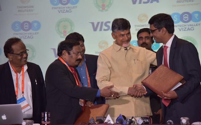Hon'ble Chief minister of Andharapradesh, Chandrababu Naidu sigining the MOU with Visa