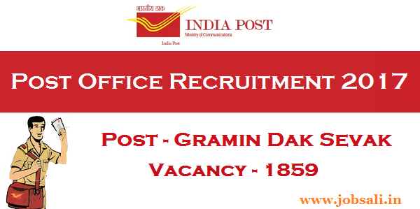 Madhya Pradesh postal circle recruitment 2017, Gramin Dak Sevak Jobs in Madhya Pradesh, India pst recruitment