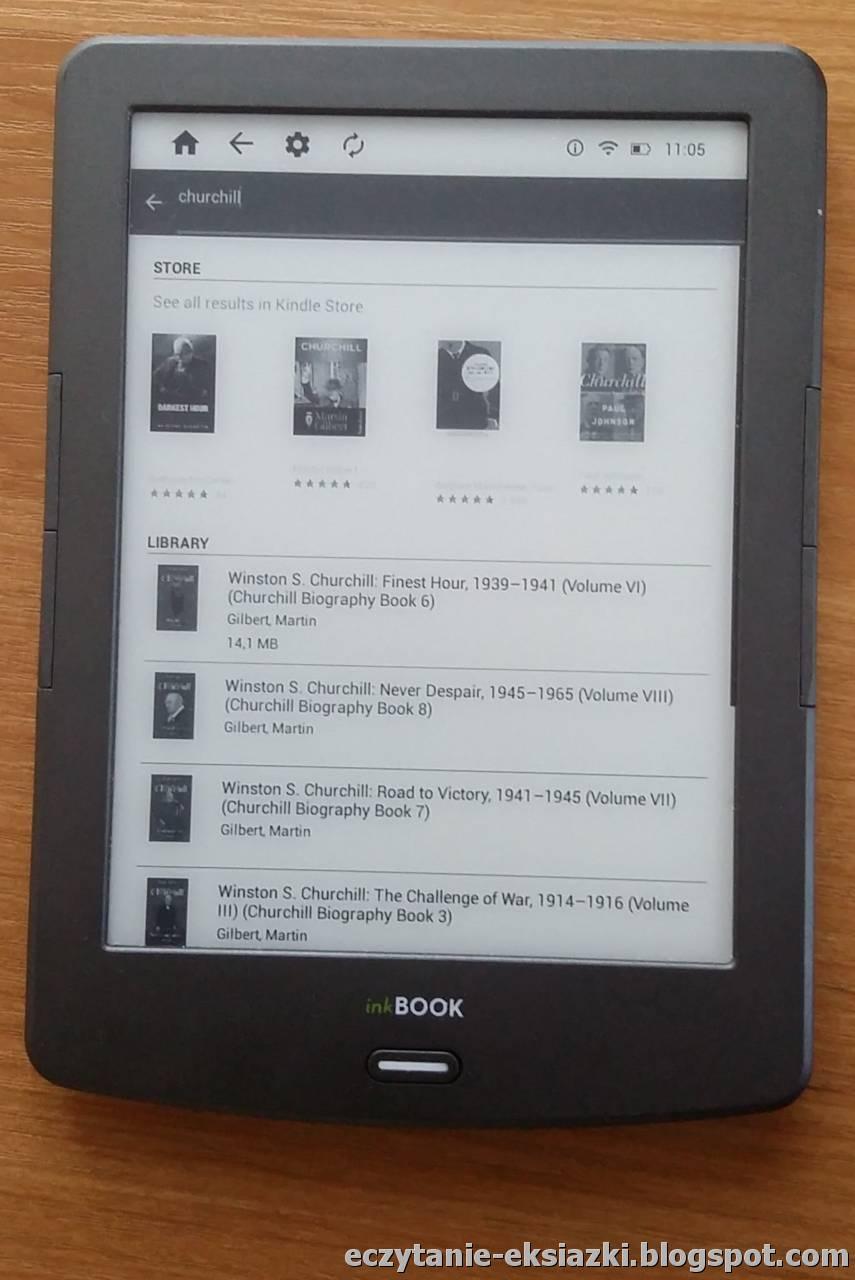 Wyniki wyszukiwania po tytule lub autorze. W górnej części pojawiają się rekomendacje książkowe Amazonu, a dopiero niżej widoczne są ksiązki na czytniku