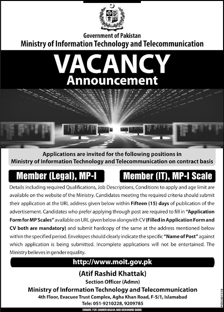 Ministry of Information Technology Jobs March 2019 Apply Online