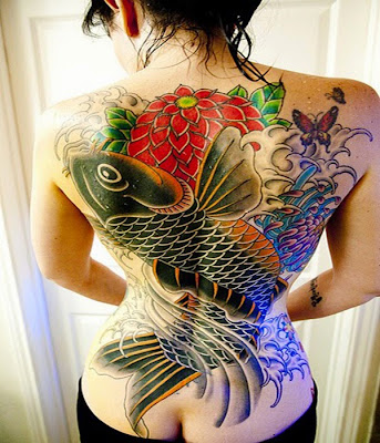 Tattoos ideas on whole body for Woman koi fish tattoo on a woman's body