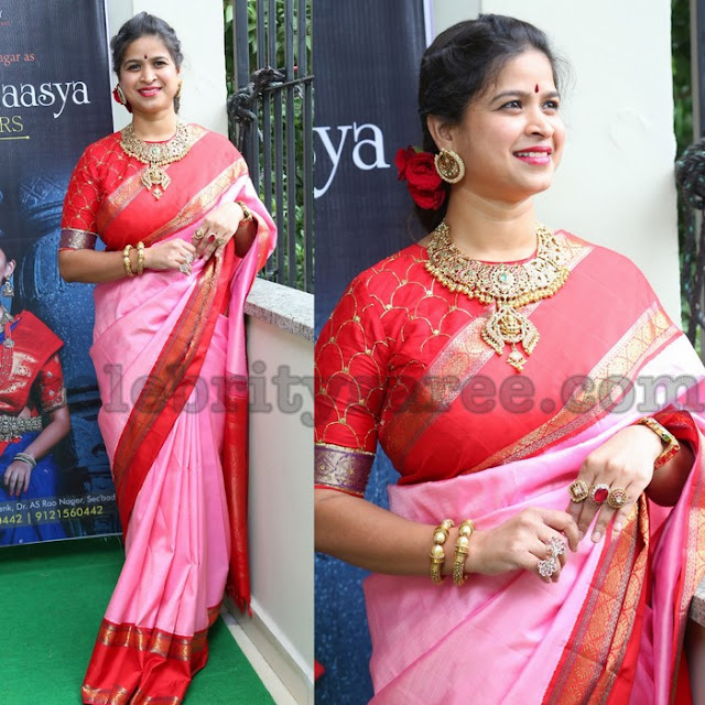 Baby Pink and Red Soft Silk Saree
