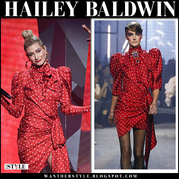Hailey Baldwin in red polka dot mini dress alexandre vauthier couture march 11