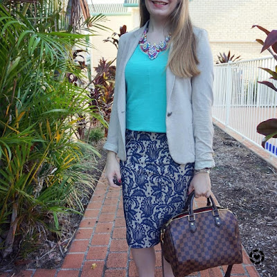 awayfromblue instagram casual tank for business corporate office lace pencil skirt and blazer
