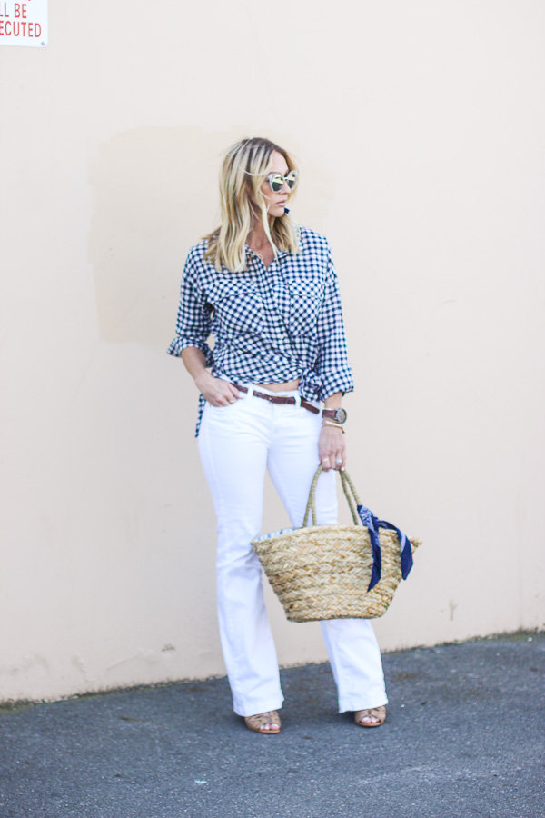 parlor girl spring style gingham top white flare jeans