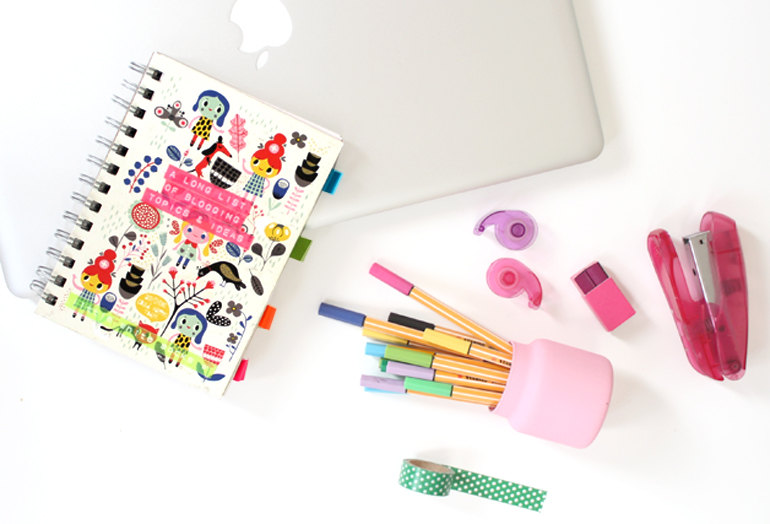 workspace office cute stationary flatlay