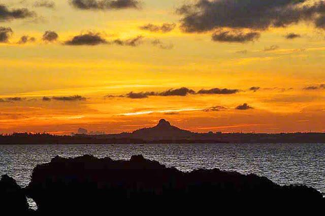 Iejima, island, sunset, ocean, mountain