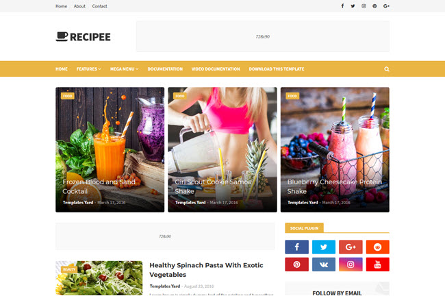 Recipee – Responsive Blogger Template