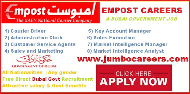 Empost careers for Indians . Accountant clerk jobs in Dubai government,