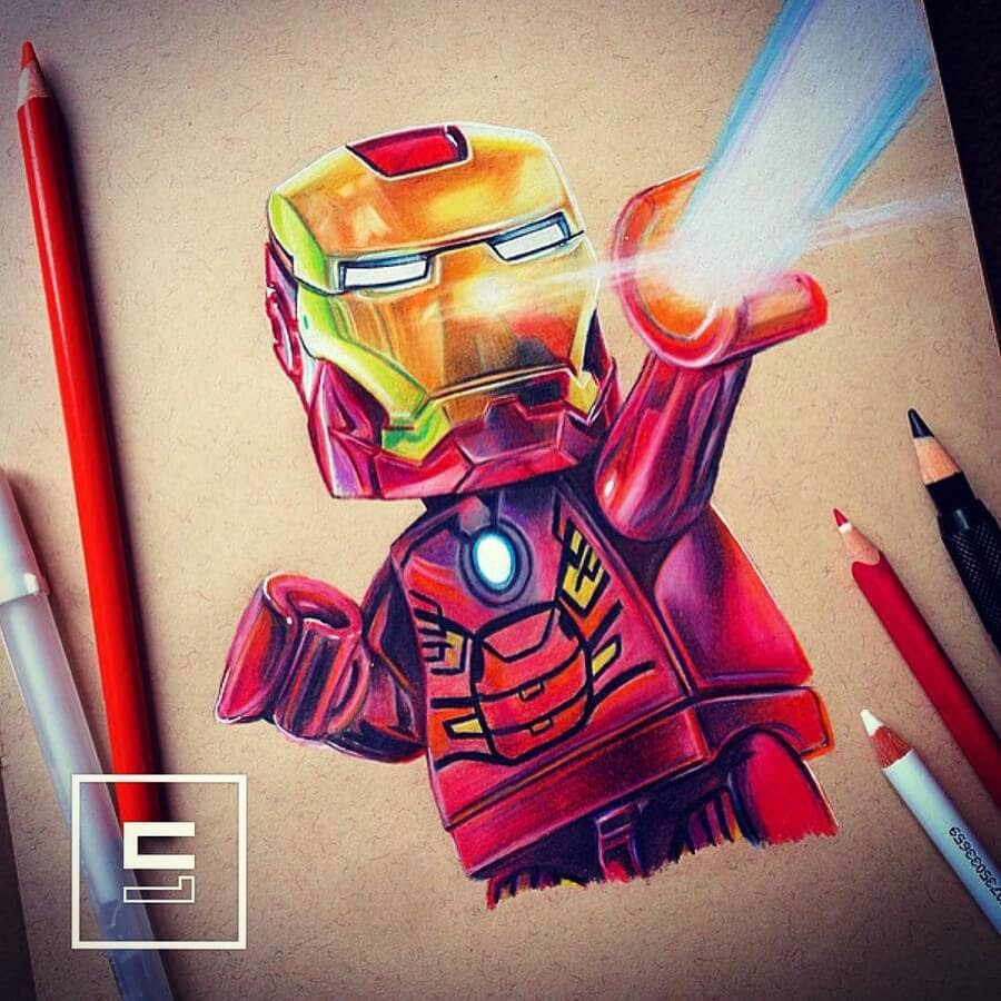 09-Lego-Iron-Man-Chris-Pencil-Drawings-www-designstack-co