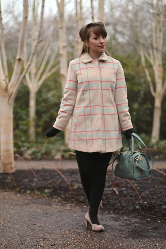 60s style grid print pastel shift coat