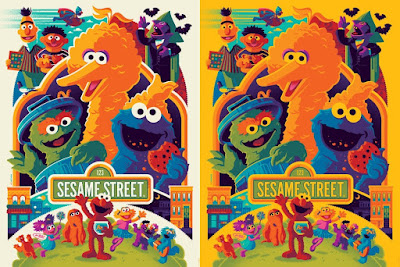 Sesame Street Screen Print by Tom Whalen x Dark Hall Mansion - Regular Edition & Big Bird Yellow Variant