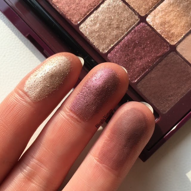 maybelline the burgundy bar far paleti incelemesi swatch 3