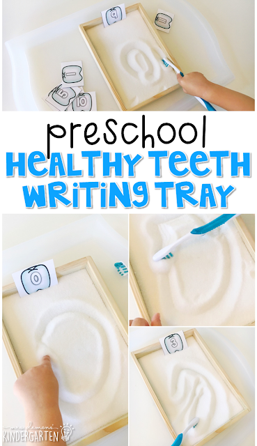 This healthy teeth sand tray is fun for letter writing and fine motor practice with a dental health theme. Great for tot school, preschool, or even kindergarten!