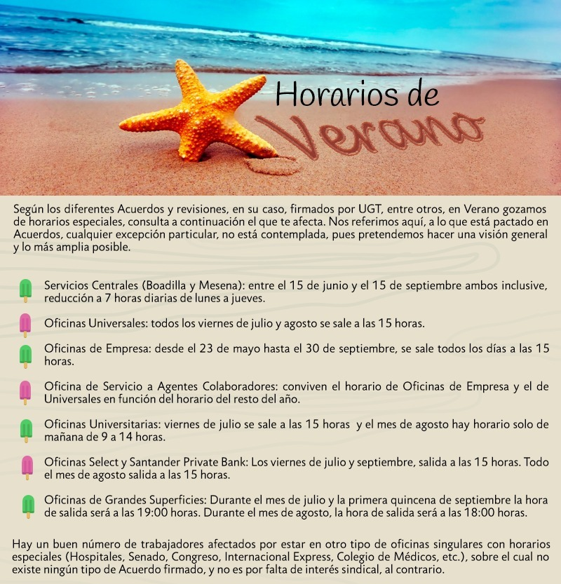 Ugt banco santander catalunya horarios de verano en banco for Horario oficinas banco santander barcelona